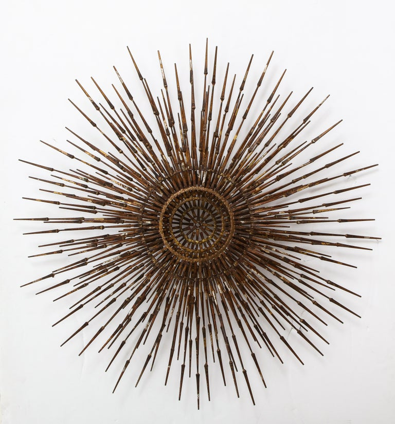 Stunning 1970s Mid-Century Modern 3-tier sunburst gilt wall sculpture by William Bowie, purchased from the original owner,