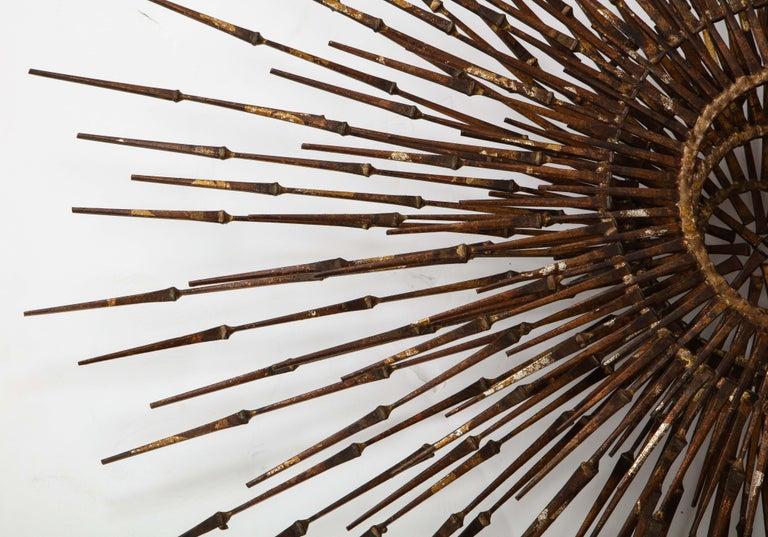 Steel William Bowie Sunburst Gilt Wall Sculpture For Sale