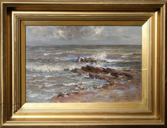 Seascape - Scottish 19thC Post Impressionist oil painting sea shoreline marine