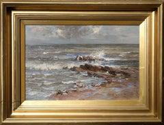 Seascape - Scottish 19thC Post Impressionist oil painting sea shoreline marine