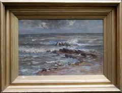 Seascape - Scottish 20th century art Post Impressionist marine sea oil painting