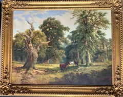 English 19th century forest landscape with horses in the New Forest Hampshire UK