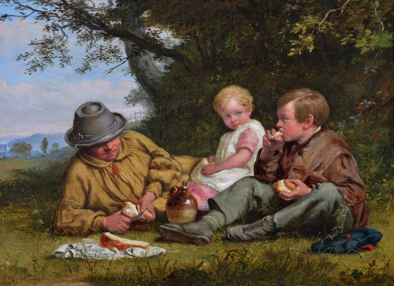 19th Century genre landscape oil painting of a man & his children having lunch - Painting by William Bromley