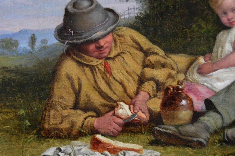 19th Century genre landscape oil painting of a man & his children having lunch - Victorian Painting by William Bromley