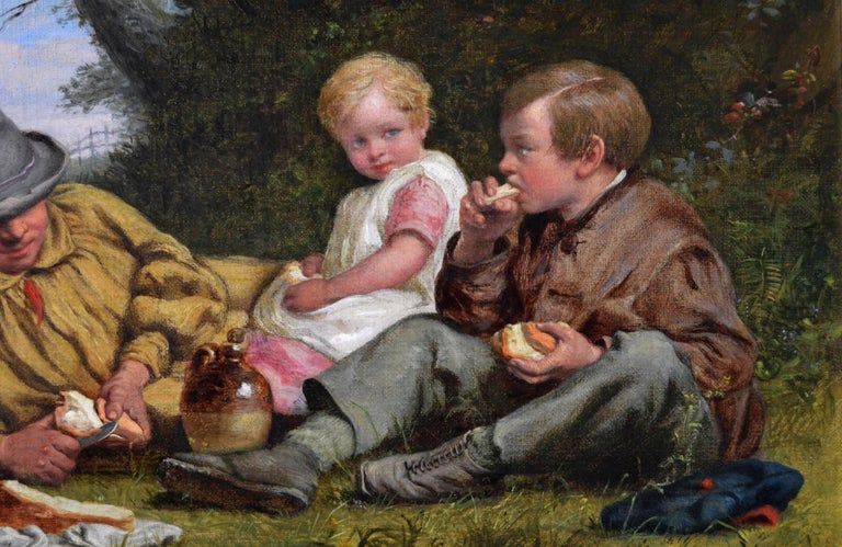 19th Century genre landscape oil painting of a man & his children having lunch - Brown Landscape Painting by William Bromley