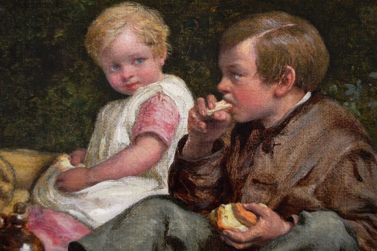 William Bromley  British, (1816-1890) Lunchtime Oil on canvas, signed  Image size: 11.5 inches x 15.5 inches  Size including frame: 17.5 inches x 22 inches  William Bromley was born in Byfleet, Surrey in 1816 to John Charles Bromley (1795-1839), an
