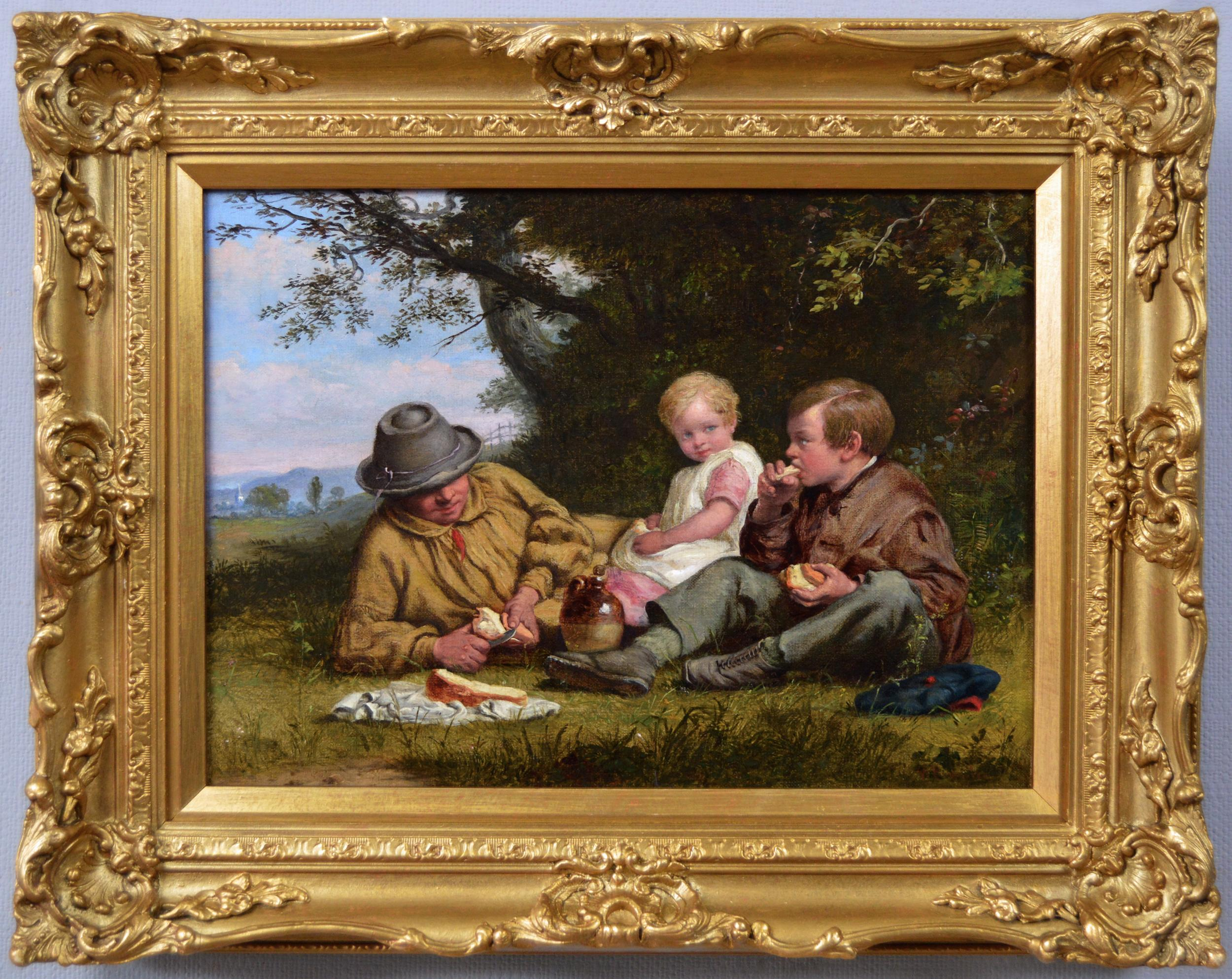 19th Century genre landscape oil painting of a man & his children having lunch