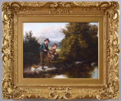 19th Century genre landscape oil painting of two boys fishing by a river