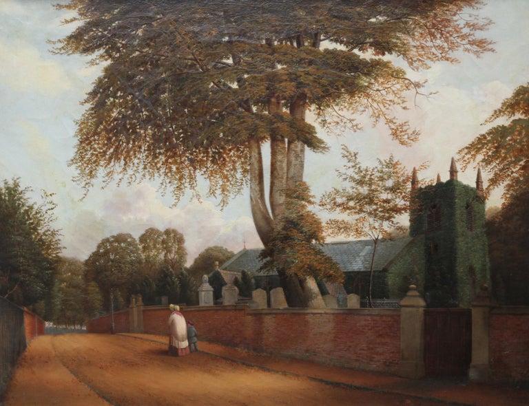Edgbaston Church Birmingham - British 1880 Victorian art landscape oil painting  - Painting by William Bromley