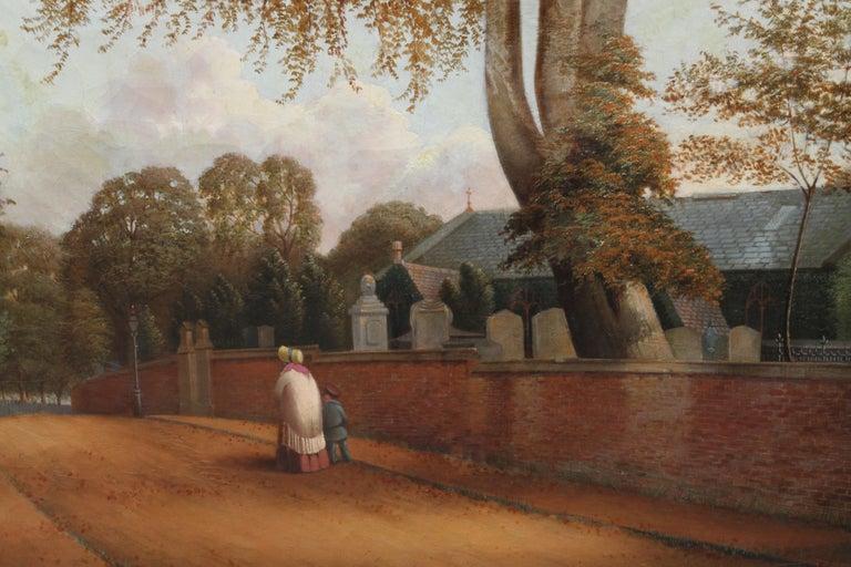Edgbaston Church Birmingham - British 1880 Victorian art landscape oil painting  - Realist Painting by William Bromley