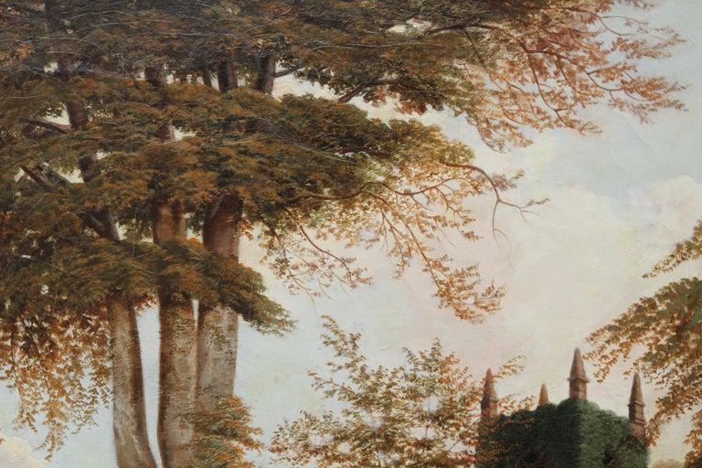 Edgbaston Church Birmingham - British 1880 Victorian art landscape oil painting  - Brown Landscape Painting by William Bromley