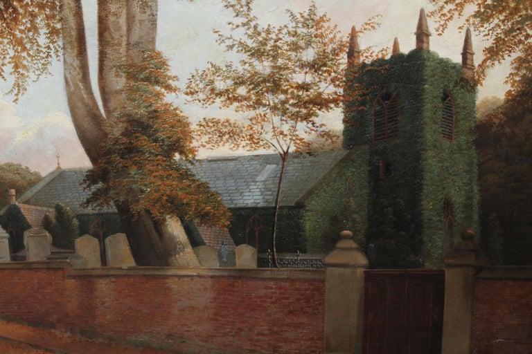 Edgbaston Church Birmingham - British 1880 Victorian art landscape oil painting  For Sale 1
