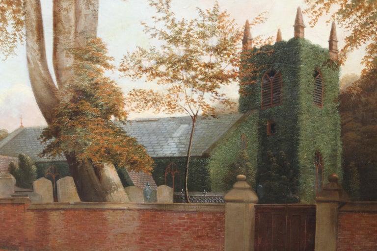 Edgbaston Church Birmingham - British 1880 Victorian art landscape oil painting  For Sale 2
