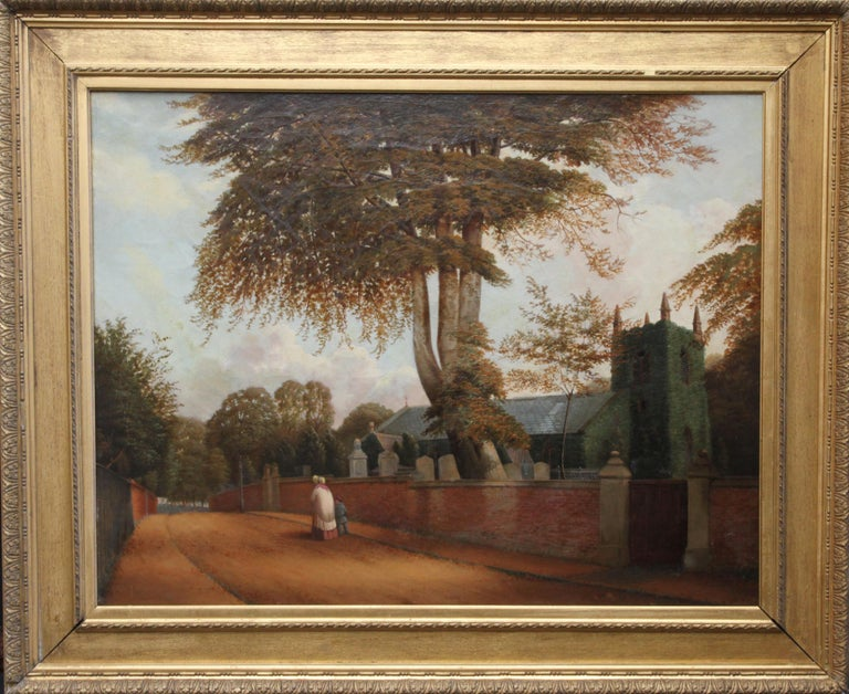 William Bromley Landscape Painting - Edgbaston Church Birmingham - British 1880 Victorian art landscape oil painting