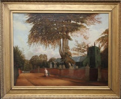 Edgbaston Church Birmingham - British 1880 Victorian art landscape oil painting