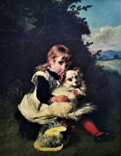 """""""The Best of Friends"""", original 1875 oil on canvas, Portrait of a child with pet"""