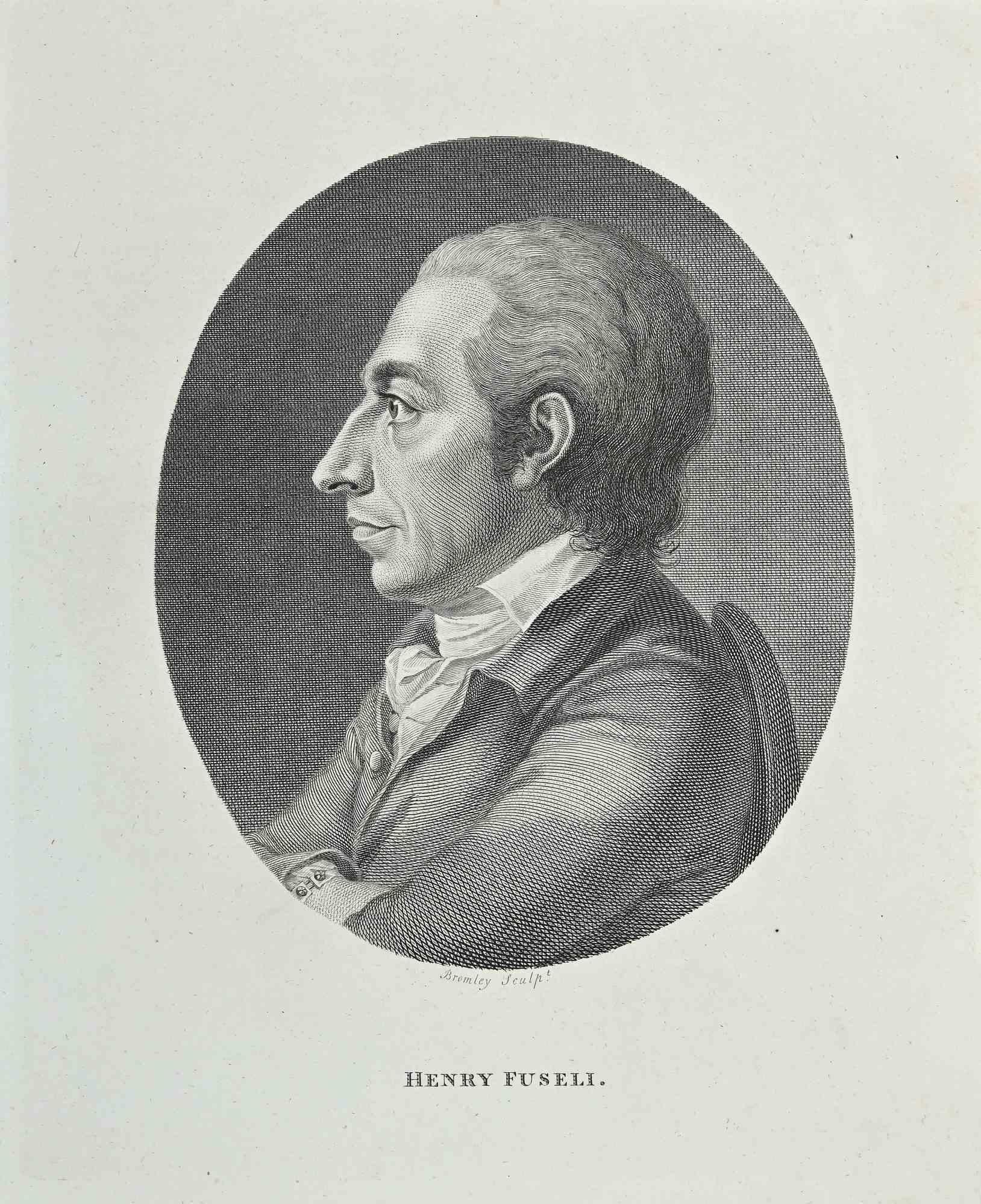 Portrait of Heinrich Fussli - Original Etching by William Bromley - 1810