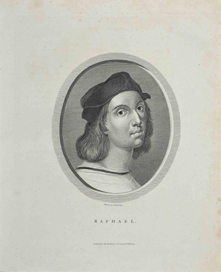 """Portrait of Raphael is an original artwork realized by William Bromley (1769 - 1842).  Original Etching from J.C. Lavater's """"Essays on Physiognomy, Designed to promote the Knowledge and the Love of Mankind"""", London, Bensley, 1810.   A the bottom"""