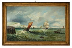 The Channel - Original Oil On Canvas by William Broome of Ramsgate-19th Century
