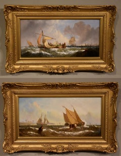 """Oil Painting Pair by William Calcott Knell """"Fishing Boats of the Dutch Coast"""""""