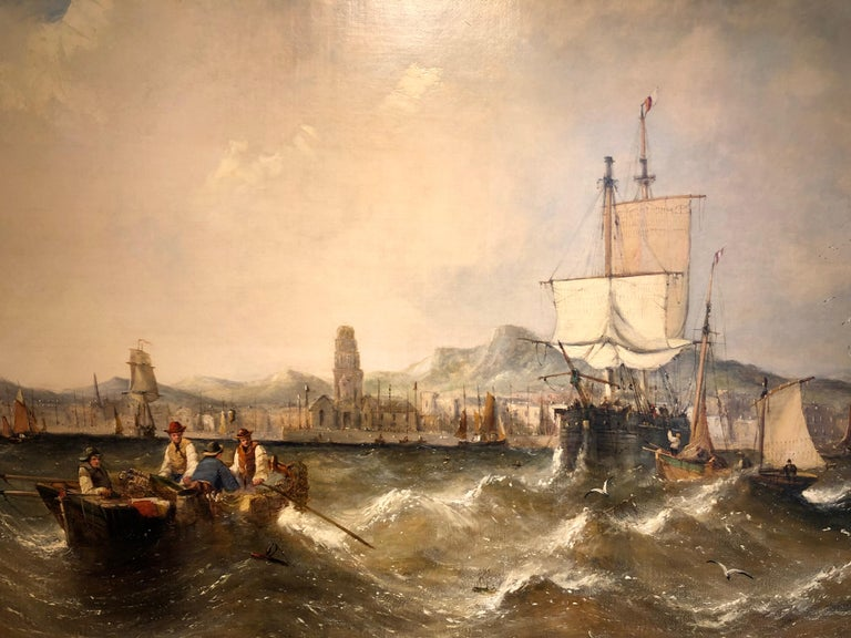 Oil Painting Seascape by William Calcott Knell Stormy Fishing Scene For Sale 4