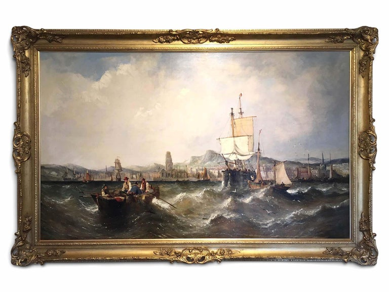 Superb seascape by Knell, Large size with harbour town in the background.  Son of William Adolphus Knell (1802-1875), who also worked as a marine painter. The influence of his father is evident in the composition and execution of his motifs.