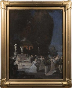 Antique American Impressionist Roaring 20's Elegant Nocturnal Party Oil Painting