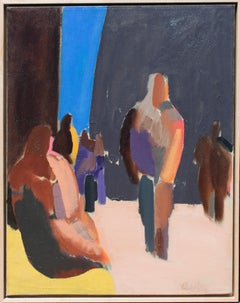 Downtown Park Figures: Mid Century Abstract Figurative Painting by William Clutz