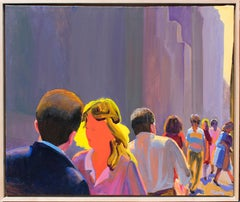 Midtown Summer Light I (Abstract Figurative Painting on Canvas by William Clutz)