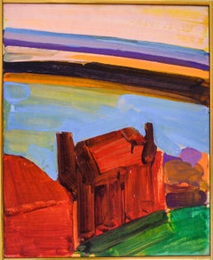 Red House Duluth (Mid-Century Abstracted Landscape by William Clutz)