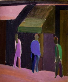 Street Awning: Abstracted Figurative New York Oil Painting c. 1963 William Clutz