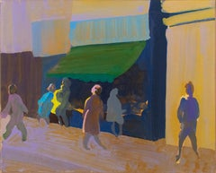 Street Shopping (Impressionistic 1970s New York Cityscape by William Clutz)