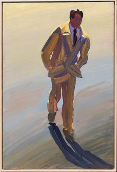 Tan Suit IV: Abstract Figurative Painting of Man in Beige Suit by William Clutz