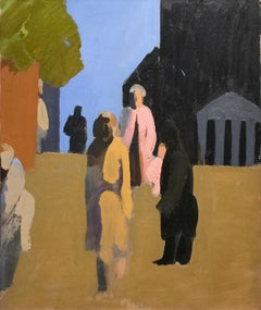 Tompkins Square (Abstract Figurative Urban Landscape Painting of New York City)