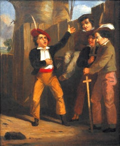 The Storyteller. Humorous Early Victorian Original Oil Painting. Royal Academy.