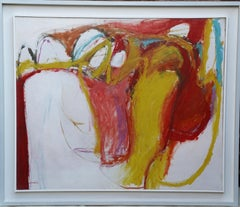 Irish Abstract - modern art 1961 abstract expressionist oil painting red yellow