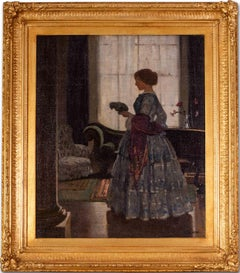 British, turn of the century oil painting of a lady holding a parrot