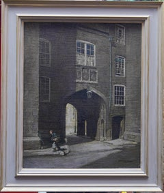 Lincoln's Inn Gatehouse from Chancery Lane - British Edwardian art oil painting