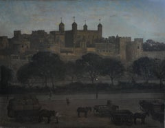 Tower of London - British oil painting nocturne architecture carts and horses