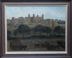 The Tower of London - British 20's art nocturne city landscape oil painting