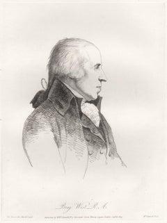 Benjamin West, history painter, portrait, soft ground etching, 1809