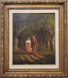 Oil Painting of Women Walking A Landscape signed by William de la Montagne Cary