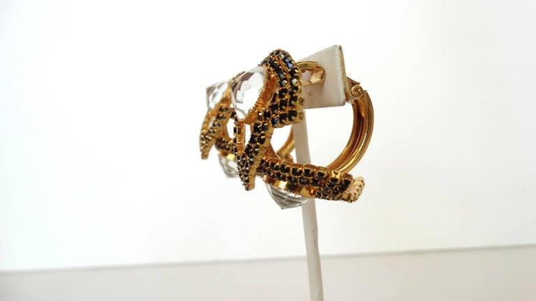 William De Lillo Black Rhinestone Hoop Clip Earrings For Sale 6