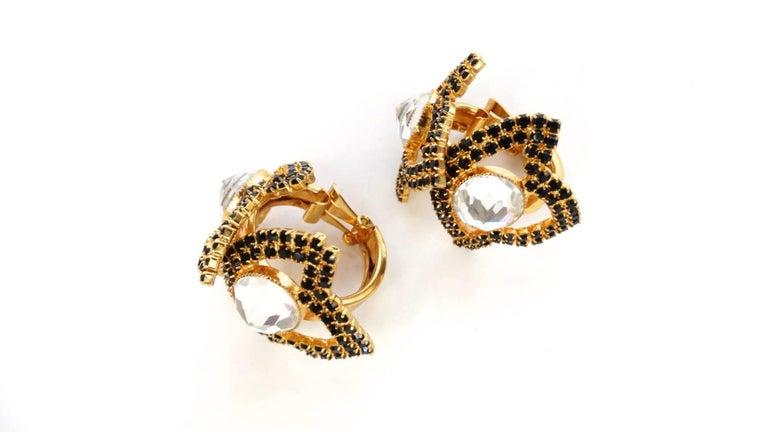 William De Lillo Black Rhinestone Hoop Clip Earrings For Sale 7