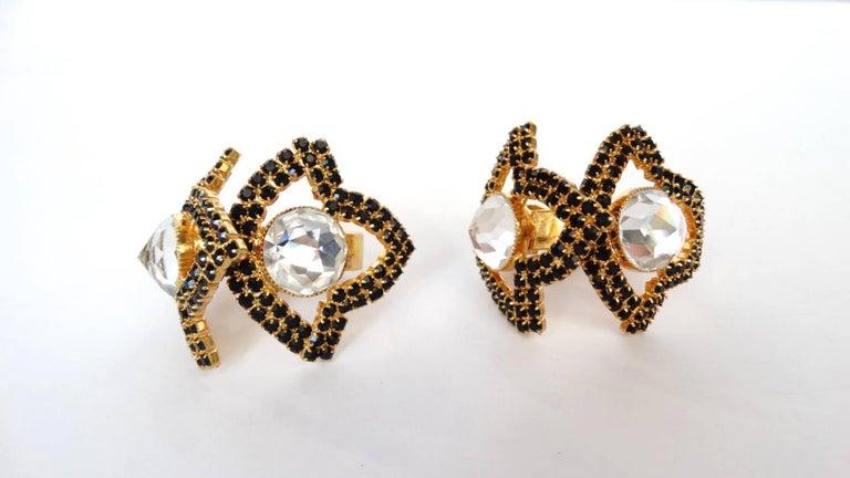 William De Lillo Black Rhinestone Hoop Clip Earrings For Sale 10