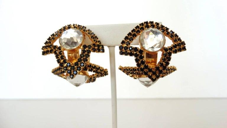 William De Lillo Black Rhinestone Hoop Clip Earrings In Excellent Condition For Sale In Scottsdale, AZ
