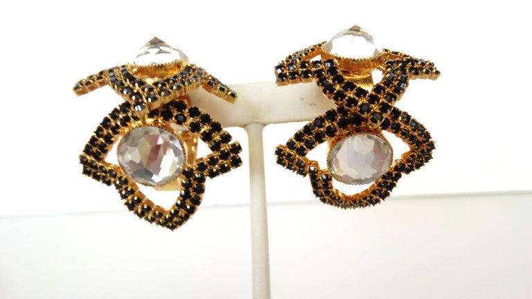 Women's William De Lillo Black Rhinestone Hoop Clip Earrings For Sale