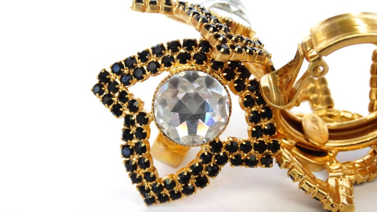 William De Lillo Black Rhinestone Hoop Clip Earrings For Sale 1