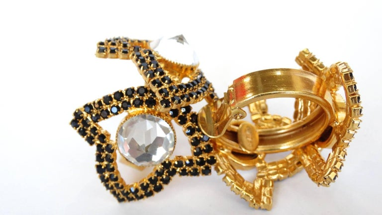 William De Lillo Black Rhinestone Hoop Clip Earrings For Sale 2