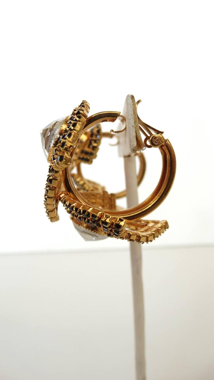 William De Lillo Black Rhinestone Hoop Clip Earrings For Sale 3